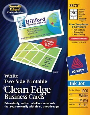 "Avery Business Card - For Inkjet Print - 2"" X 3.50"" - Matte - 1000 / Box - White"