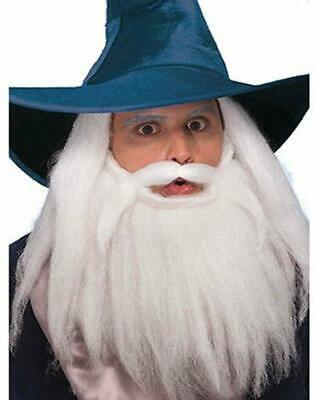 Fake White Beard (Fake White Mustache & Beard Full Bushy Facial Hair Wizard Farmer Caveman)