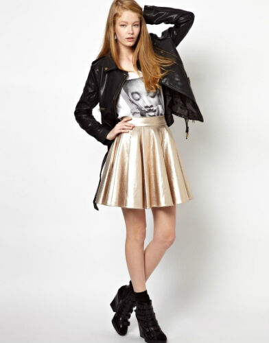 Gold Timac Full Skirt in Metallic Faux Leather