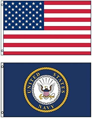 Wholesale Combo Lot 3'x5' USA American & US Navy Emblem Seal Crest 2 Flags 3x5