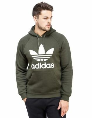 Adidas Originals Men's Trefoil Fleece HOODIE Hooded Sweatshirt Jumper Khaki NEW