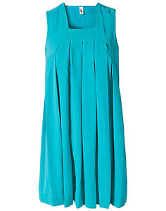 Vero Moda Very Jackie Pleated Dress Blue or Yellow UK 8 Eur 36 UK 10 Eur 38 BNWT