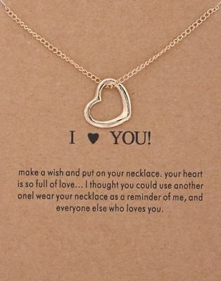 Heart Necklace Pendant Gold Dipped Charm Gift Meaning Card open heart I Love You ()
