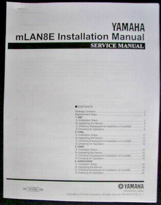 Yamaha mLAN8E Installation Manual Booklet for use with S80 CS6x CS6R A4000 A5000 for sale  Shipping to Canada