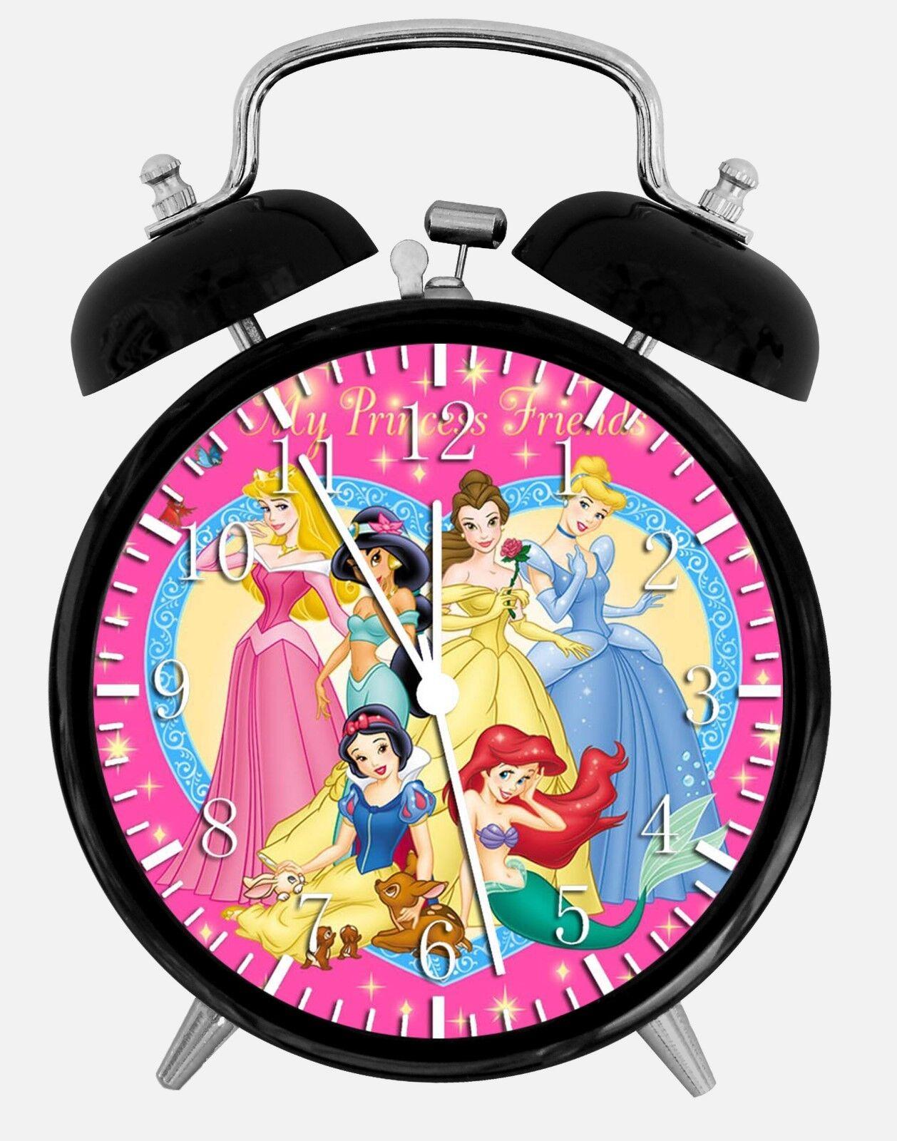 "Disney Princess Alarm Desk Clock 3.75"" Home or Office Decor W70 Nice For Gift"