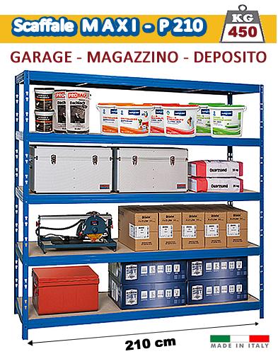 Scaffalatura Metallica - 210 cm per Garage e Magazzino - 450 Kg