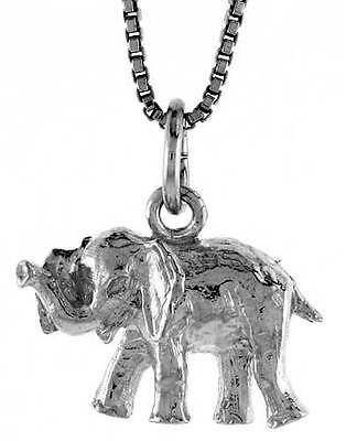 Sterling Silver Small Elephant Pendant 1/2 inch (Elephant 1/2 Jewelry Pendant)