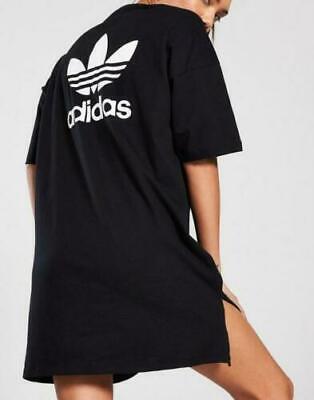 ADIDAS ORIGINALS TREFOIL TEE DRESS BLACK BNWT DV2607 UK 12
