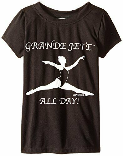 Danskin Girls Grande Jete All Day T-Shirt Black Tee Dance Ballet Small 4-6