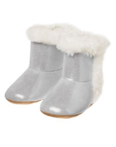 Gymboree Mouse Silver Crib Boots with Faux Fur Trim Infant Baby Girl Size 2 NEW