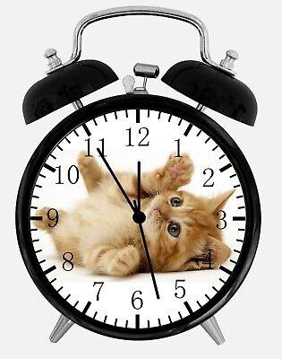 Süß Kätzchen Katze Alarm Schreibtisch Uhr 9.5cm Heim oder Büro Dekor E306 Schön (Kätzchen Wecker)