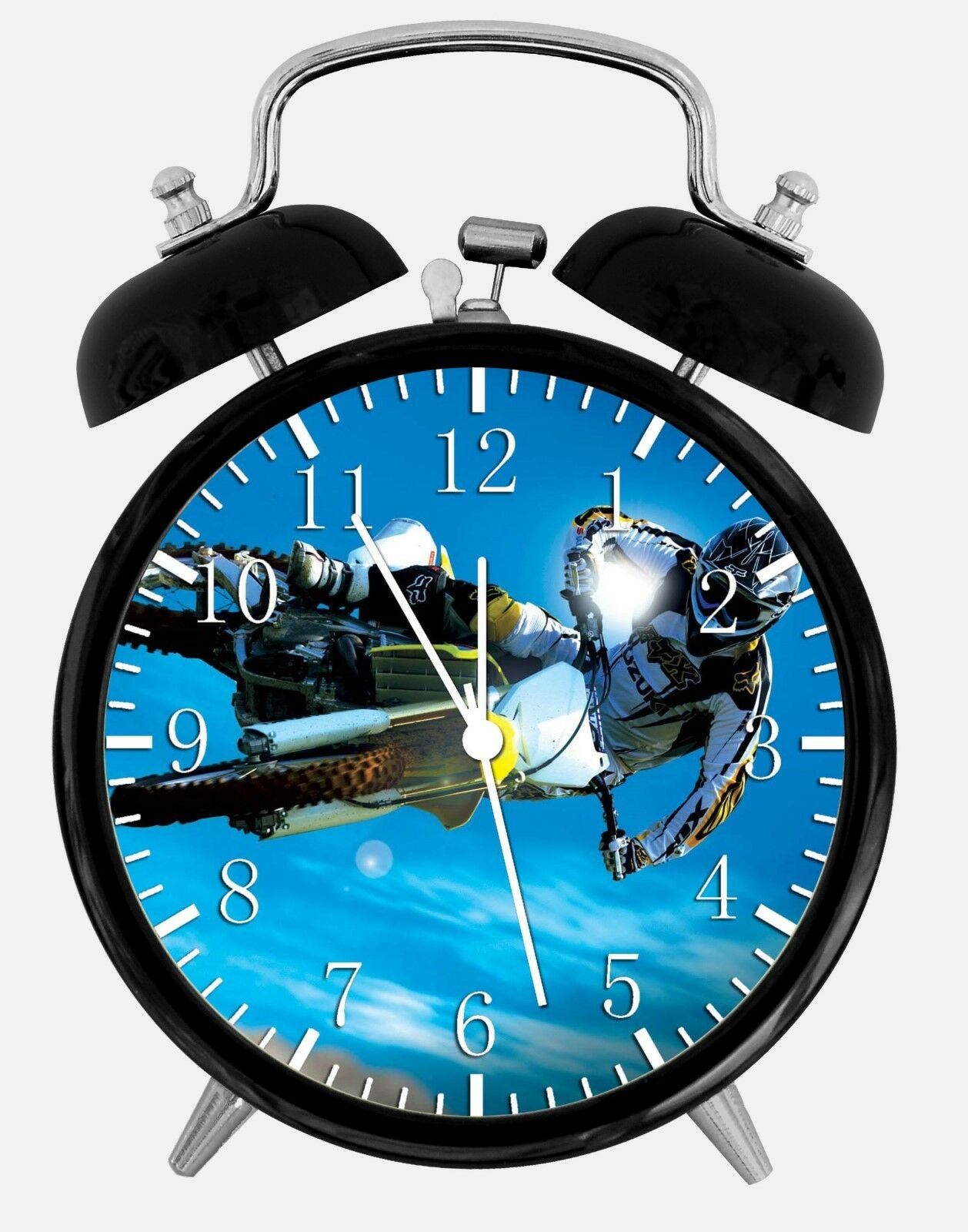 """Motor Cross Alarm Desk Clock 3.75"""" Home or Office Decor W73 Nice For Gift"""