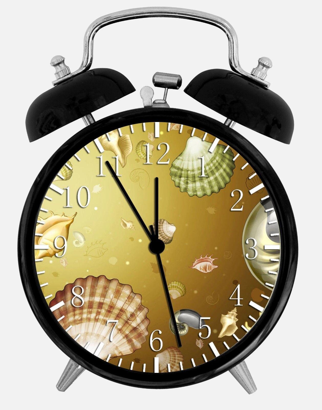 "Sea Shells Alarm Desk Clock 3.75"" Home or Office Decor W136 Nice For Gift"