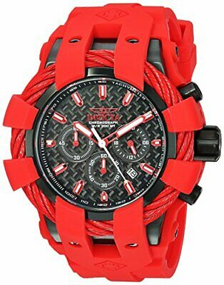 Invicta Men's Bolt Stainless Steel Chronograph Quartz Red Silicone Strap Watch