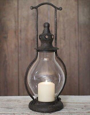 Primitive Mini Steeple Candle Lantern, 12 Inches Tall in Rustic Brown Tin
