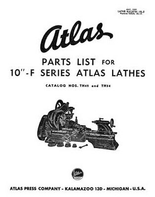 Atlas 10 Inch Parts List F Series Lathes Millers