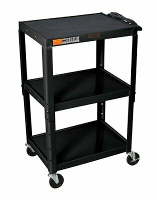 H Wilson Black Metal 3 Shelf Presentation Cart
