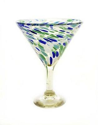 Set of 4, Ocean Blue Confetti Martini Glasses, Recycled Glass-12 Ounces. ()