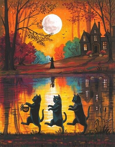 8x10 PRINT OF PAINTING RYTA WITCH BLACK CAT AUTUMN HALLOWEEN HAUNTED HOUSE ART