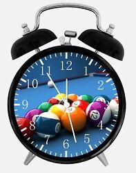 Pool Billiards Cue Alarm Desk Clock 3.75 Room Office Decor E308 Nice For Gift