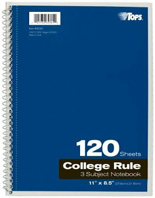 Tops 3-subject Notebook - 120 Sheet - College Ruled - Letter 8.50 X 11 65361