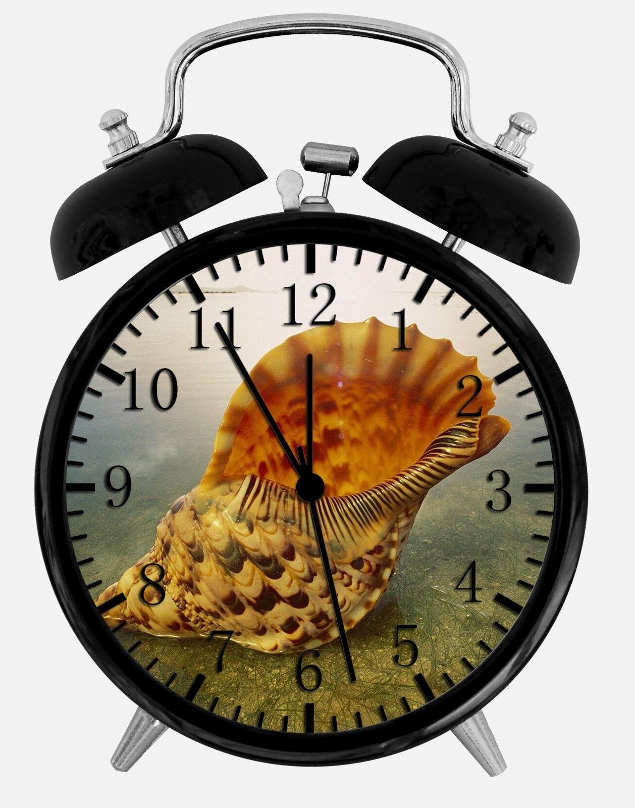 "Sea Shell Alarm Desk Clock 3.75"" Room Office Decor W139 Nice For Gift"