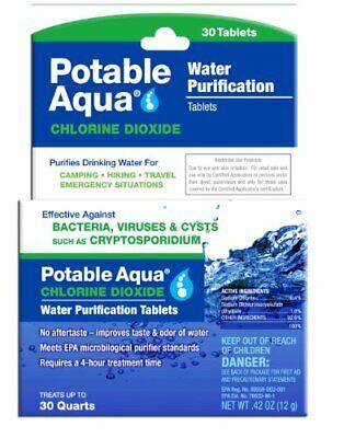 Water Purification Tablets Potable Aqua Chlorine Dioxide Purifies Drinking Water
