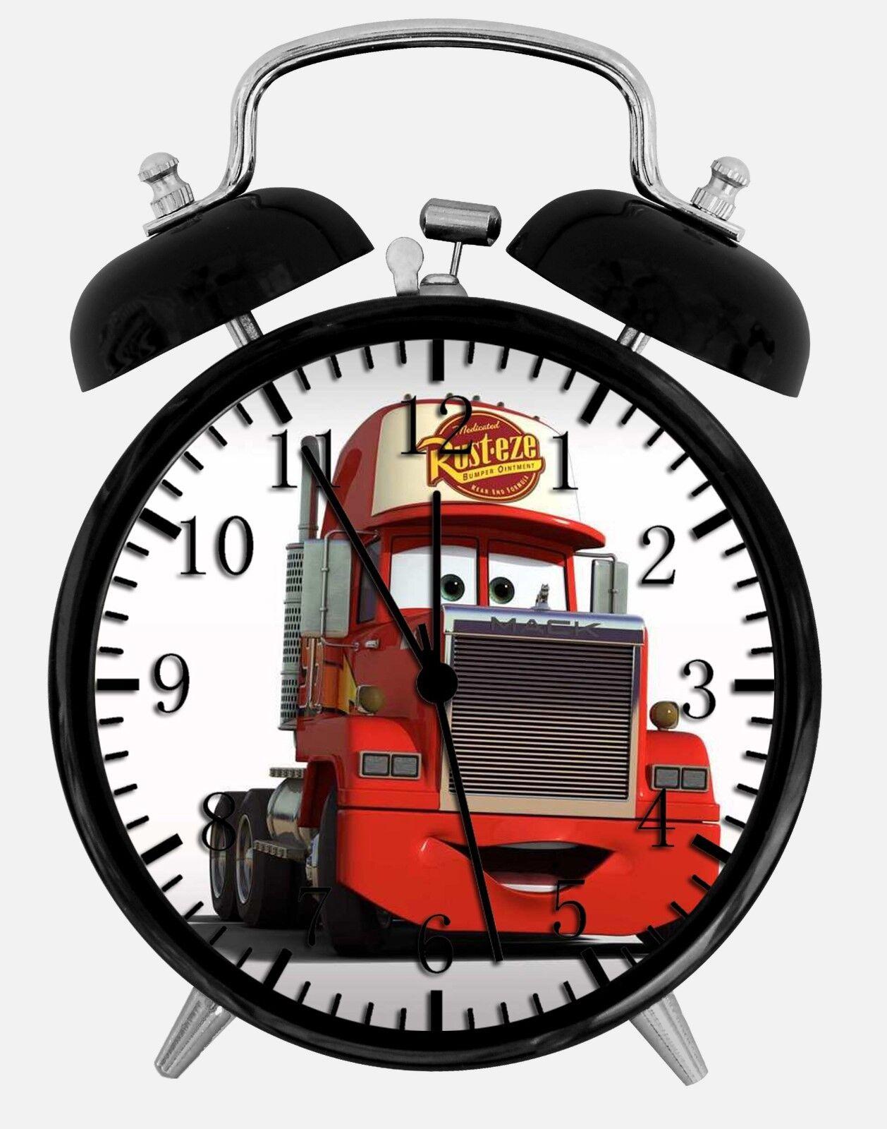 "Disney Cars Mack Alarm Desk Clock 3.75"" Home or Office Decor W74 Nice For Gift"