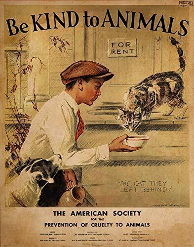 Vintage - Be Kind To Animals Poster - ASPCA Poster Print - Art Prints 11 x 14 Un