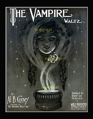 THE VAMPIRE gothic female witch 8x10 vintage Halloween sheet music Art print