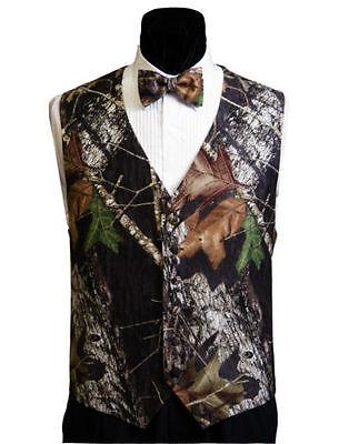 Mens Mossy Oak Tuxedo Suit Adj. Vest Camo Bow Tie Camouflage Hankie Real Pockets - Camo Tux