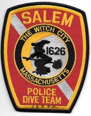 "Salem  DIVE TEAM, MA ""Witch City"" (3.75"" x 4.75"") shoulder police patch (fire)"
