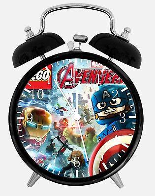 """Lego Marvel's Avengers Alarm Desk Clock 3.75"""" Home Office Decor E323 Nice Gift"""