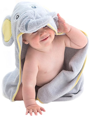 Little Tinkers World Elephant Hooded Baby Towel, Natural