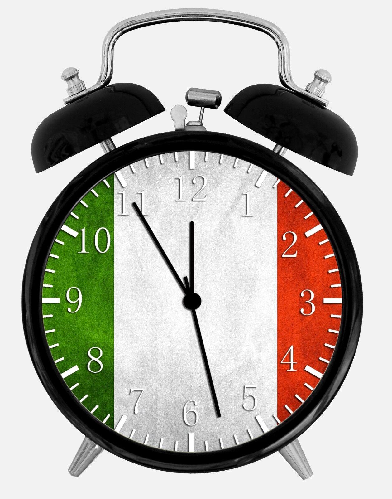 "Italian Italy Flag Alarm Desk Clock 3.75"" Room Office Decor W147 Nice For Gift"