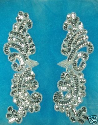 APPLIQUES SILVER BEADED SEQUIN MIRROR PAIR Costume Patch Supplies 7.75