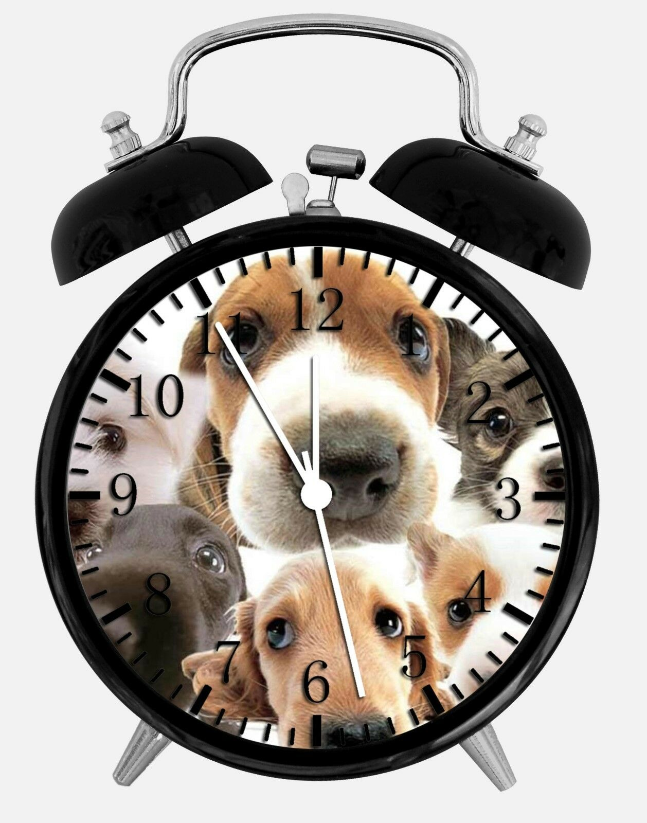 """Cute Puppy Dog Alarm Desk Clock 3.75"""" Home or Office Decor W71 Nice For Gift"""