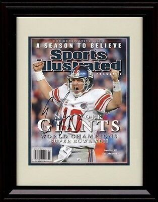 Framed Eli Manning SI Autograph Replica Print - New York Giants - Super Bowl 42