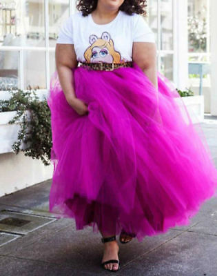 Plus Size Tutu Skirt (Plus Size Hot Pink 5 Layers Tulle Skirt Summer Maxi Skirts Tutu Pleated)