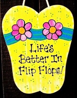 LIFE'S BETTER IN  FLIP FLOPS Sign Tiki Bar Pool Hot Tub Beach Patio Wall
