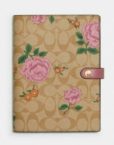 Coach Notebook Signature Canvas Khaki Pink NWT