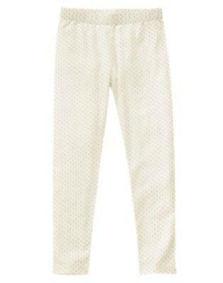 NWT Girls Crazy 8 SPARKLE ROSE Ivory with Gold Glitter Polka Dot Leggings - Girls Sparkle Leggings
