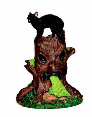 Spooky Woods Halloween (Spooky Town Spooky Woods Tree Stump with Black Cat by Lemax Halloween)