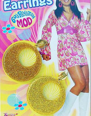 Gold Glitter Earrings 60'S 70'S Hippy Austin Powers Mod Retro Diva Fancy Dress