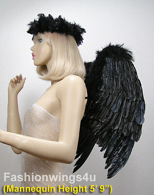 FashionWings (TM) Black Fallen Angel Costume Feather Wings Halo Mask Set](Black Fallen Angel Costume)