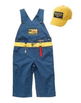 NWT GYMBOREE CARPENTER CONSTRUCTION WORKER COSTUME w HAT 6 9 12 MO  HALLOWEEN (Carpenter Costume)
