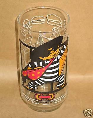 "1977 McDONALDSLAND 5.75"" HAMBURGLAR Vintage Tumbler GLASS FREE SH"