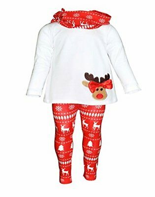 Girls 3 Piece Boutique Christmas Reindeer Bow Outfit with Scarf 2t 3t 4t 5 6 7 - Reindeer Outfit