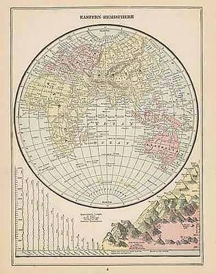 1900 original ANTIQUE EASTERN HEMISPHERE color map authentic