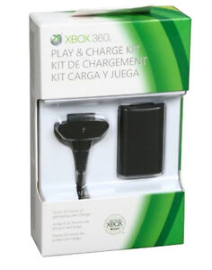 Microsoft Xbox 360 Official Black Play and Charge Kit w ...